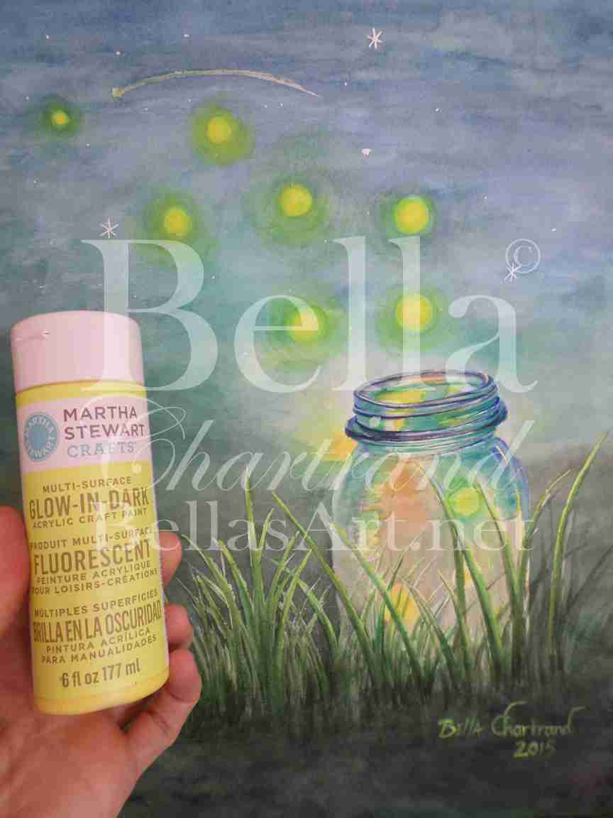 "Glow in Dark Paint used in ""Fireflies"" by Bella Chartrand"