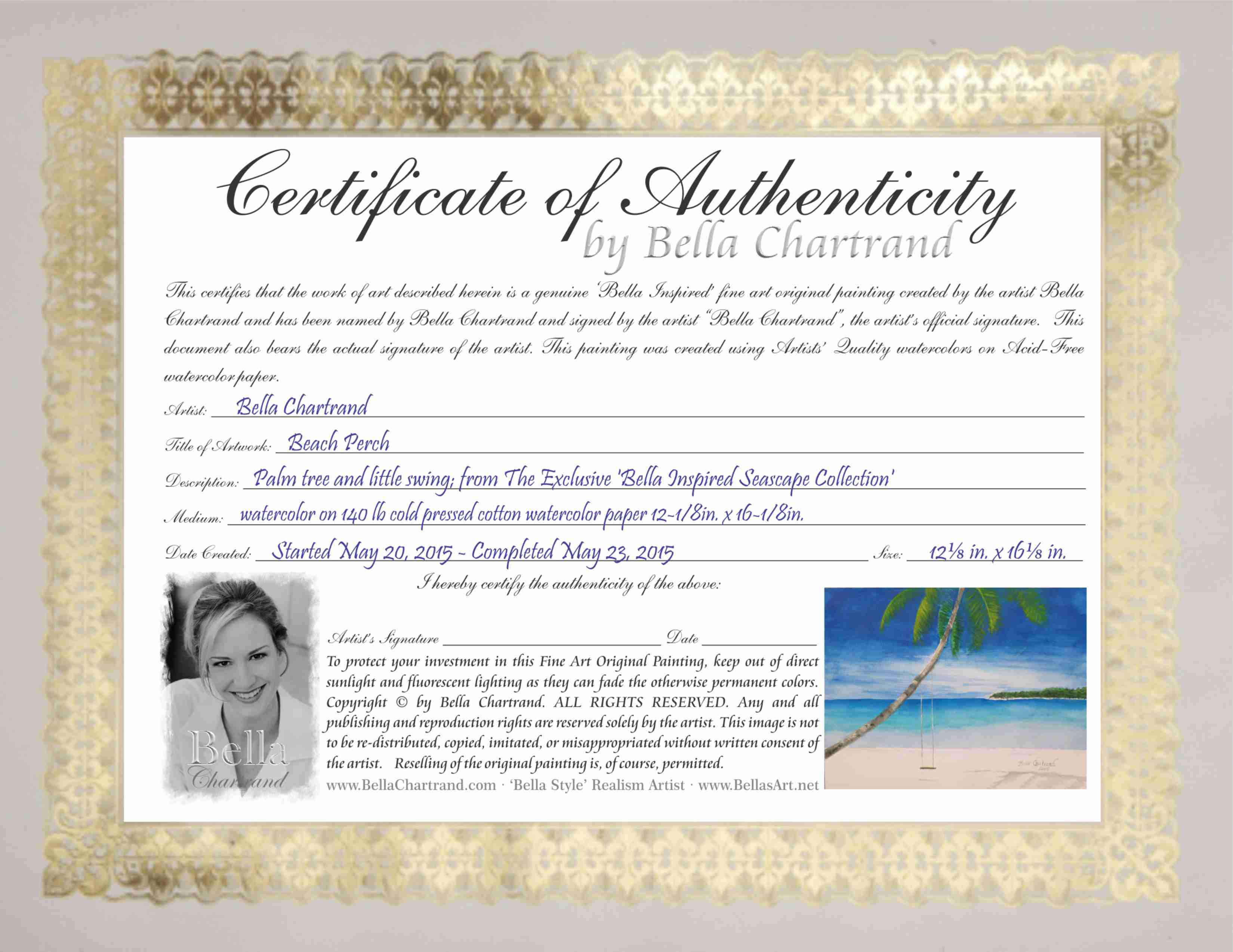 """Cool Breeze Under the Palm"""" COA Certificate of Authenticity"""